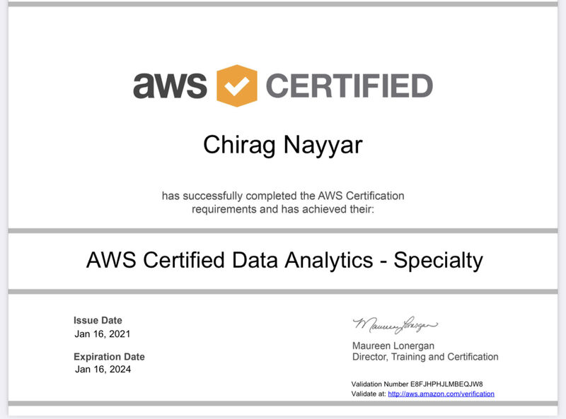 Chirag Nayyar AWS Data Analytics Certified